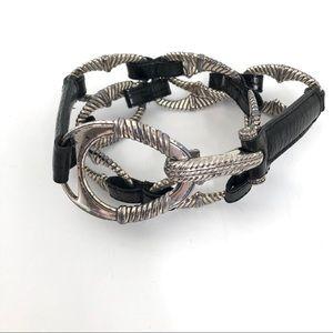 Brighton Silver and Black Patent Link Belt Sz 32